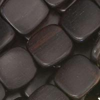 Tiger Ebony Wood Bead Flat Square 16mm - strand