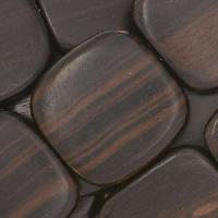 Tiger Ebony Wood Bead Flat Square 25mm - strand