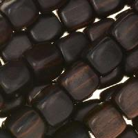 Tiger Ebony Wood Bead Cube 10mm - strand