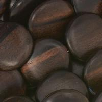 Tiger Ebony Wood Bead Coin 20mm - strand
