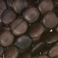Tiger Ebony Wood Bead Flat Rondelle 12x5mm Side Drill - strand