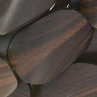 Tiger Ebony Wood Bead Twisted Oval 25x35mm