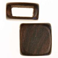 Tiger Ebony Wood Slide Large Hole Square Plain 15mm - piece