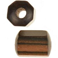 Tiger Ebony Wood Slide Large Hole Tube Six-Sided 20x15mm - piece