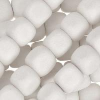White Wood Bleach Bead Cube 10mm - strand