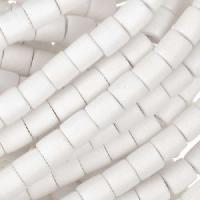 White Wood Bleach Bead Tube 6x6mm - strand