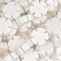 White Wood Bleach Bead Flower Shape 12x5mm