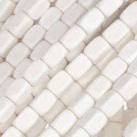 White Wood Bleach Bead Rectangle 5x7mm - strand