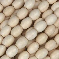 White Wood Natural Bead Oval 6x8mm