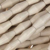 White Wood Natural Bead Football 7x15mm - strand