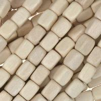 White Wood Natural Bead Rectangle 5x7mm - strand
