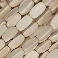 White Wood Natural Bead 3 Sided Oval 5x12mm