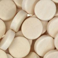 White Wood Natural Bead Coin 10x5mm