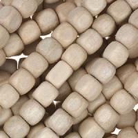 White Wood Natural Bead Cube 6mm - strand