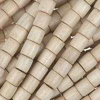 White Wood Natural Bead Tube 6x6mm