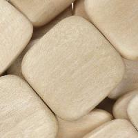 White Wood Natural Bead Flat Square 25mm