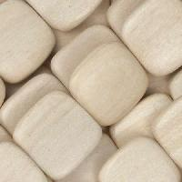 White Wood Natural Bead Flat Square 16mm