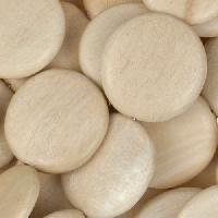 White Wood Natural Bead Coin 20mm