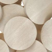 White Wood Natural Bead Twisted Coin 25mm