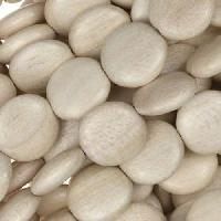 White Wood Natural Bead Coin 12x5mm - strand
