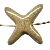 Kazuri Starfish Large Ceramic Bead - Dinner Mustard