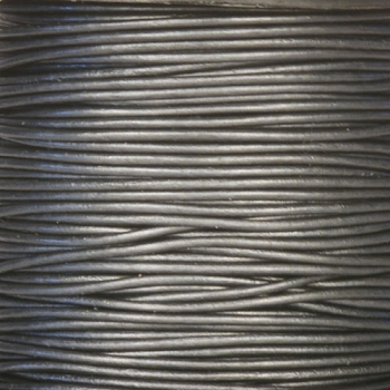 2mm Round Leather Cord - Metallic Gunmetal