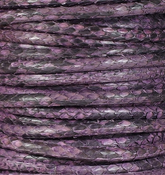 Genuine Snakeskin 5mm Flat Leather Cord - Purple