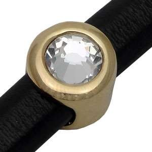 Regaliz Button Pave Crystal 10mm Oval Leather Cord Slider - Gold Plate