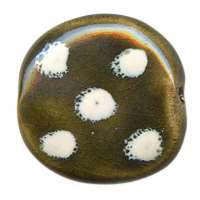 Kazuri Pita Pat Dots Ceramic Bead - Greenwood / Fudge