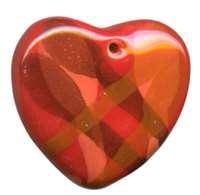 Kazuri Pendant Puffy Heart - High Red / Henna / Golden Brn / Orange