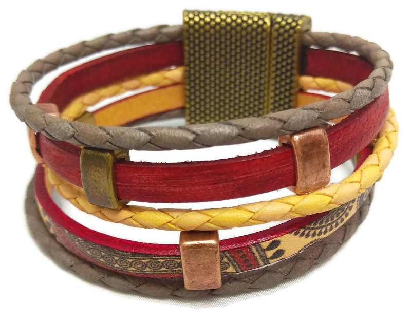 Flat and Round Leather Bracelet