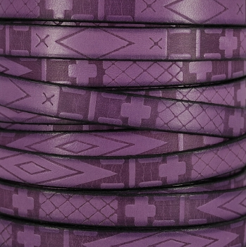 10mm flat South Western Deco leather PURPLE - 1 meter