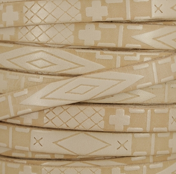 10mm flat South Western Deco leather NATURAL - 1 meter