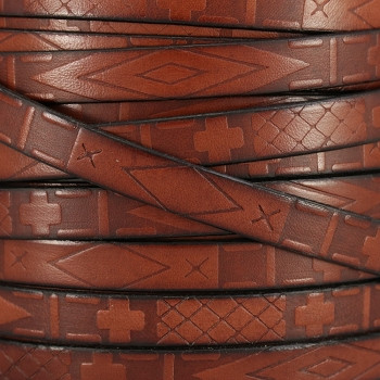 10mm flat South Western Deco leather BROWN - 1 meter