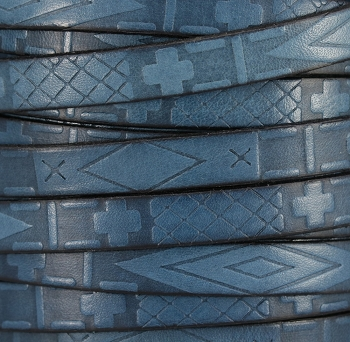 10mm flat South Western Deco leather BLUE - 1 meter