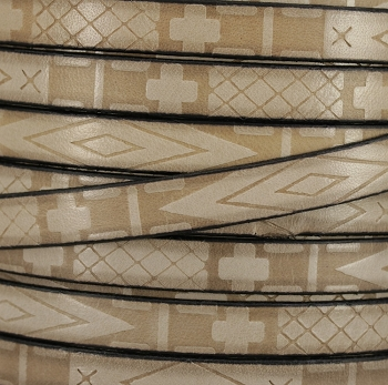 10mm flat South Western Deco leather BEIGE - 1 meter