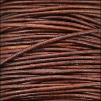0.5mm Round Indian Leather Cord per 25M SPOOL - Red Brown Natural Dye
