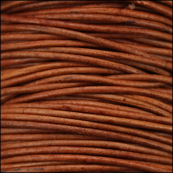 0.5mm Round Indian Leather Cord - Brown Natural Dye - per yard