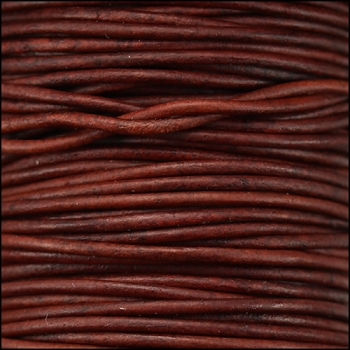0.5mm Round Indian Leather Cord per 25M SPOOL - Turkey Red Natural Dye