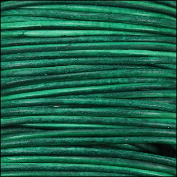 0.5mm Round Indian Leather Cord - Turquoise Natural Dye - per yard