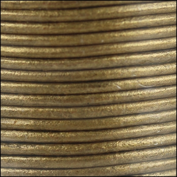 1.5mm Round Indian Leather Cord - Metallic Brown - per yard