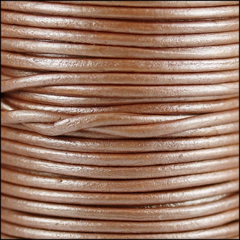 1.5mm Round Indian Leather Cord - Metallic Salmon Musk - per yard