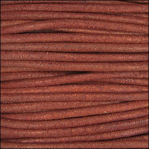 1.5mm Round Indian Leather Cord - Brick Red Natural Dye - per yard