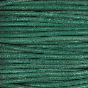 1.5mm Round Indian Leather Cord - Turquoise Natural Dye - per yard