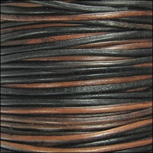 1.5mm Round Indian Leather Cord - Sippa Natural Dye - per yard