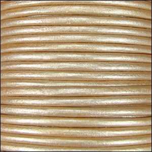 1.5mm Round Indian Leather Cord - Metallic Cream - per yard