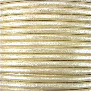 1.5mm Round Indian Leather Cord - Metallic Pearl - per yard