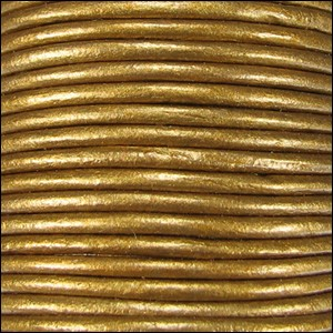 1.5mm Round Indian Leather Cord - Metallic Honey - per yard