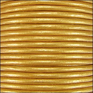 1.5mm Round Indian Leather Cord - Metallic Yellow Gold - per yard
