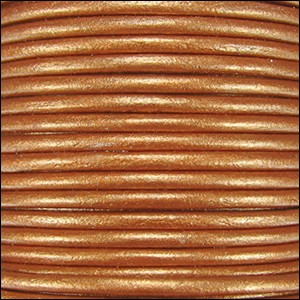 1mm Round Indian Leather Cord - Metallic Burnt Gold - per yard